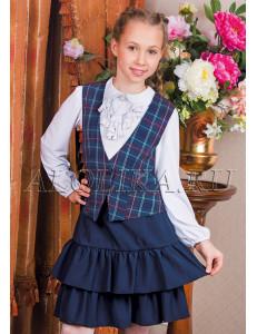 """Костюм для девочек синего цвета (жилет и юбка) """"Классика"""""""