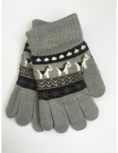 Перчатки осенние серого цвета с изображением пони